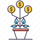 dollar plant, financial growth, investment, money growth, money plant icon
