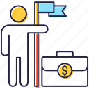 business achievement, business goal, business growth, business mission briefcase, business success icon