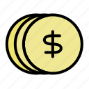 business, coins, currency, dollar, finance, marketing, money icon
