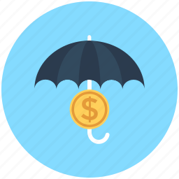 dollar, insurance, money protection, safe investment, umbrella icon