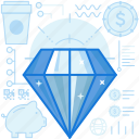 bank, coffee, diamond, gem, jewel, piggy, value