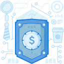 dollar, finance, money, protection, security, shield, tie icon