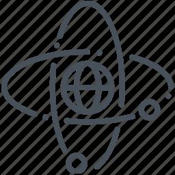 arom, atom, global, globe, internet, progress icon