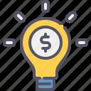 idea, bulb, creative, money, business