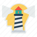 building, business, house, light, sea, tower, vision icon