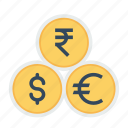 coin, currency, dollar, euro, indian, money, rupee icon