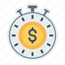 american, clock, deadline, dollar, management, performance, time icon