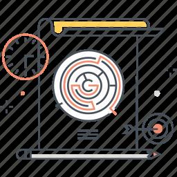 idea, maze, paper, pen, solve, strategy, work icon