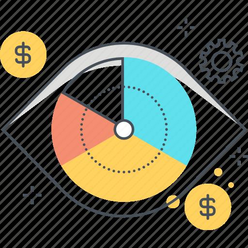 analytics, budget, eye, graph, money, statistics, vision icon