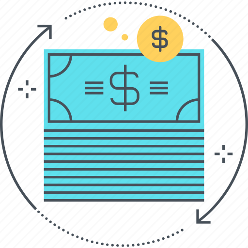budget, currency, flow, growth, money, refresh, reload icon