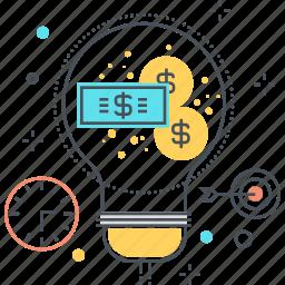 business plan, dolar, idea, lamp, making, money, start up icon