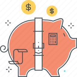 accounting, balance, belt, budget, funds, investment, piggy bank icon