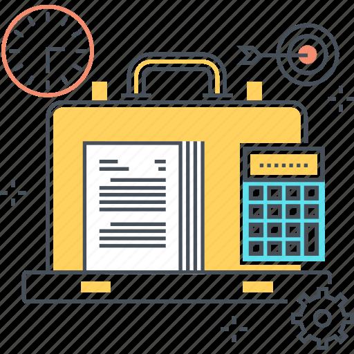 accounting, bag, office, portfolio, suitcase, travel, work icon