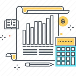analytics, bars chart, calculator, graphic, pen, statistics, stats icon