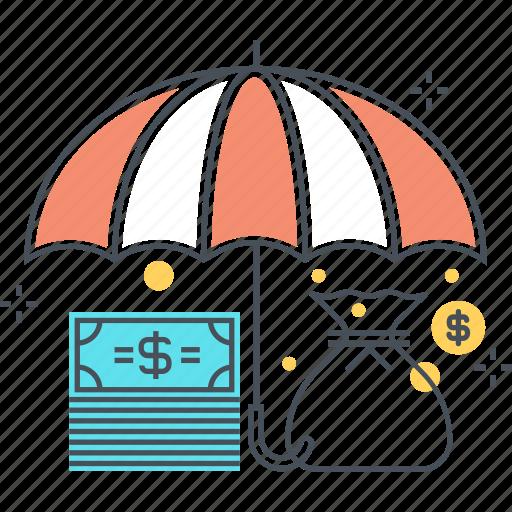 budget, insurance, money, mortgage insurance, protect, savings, umbrella icon