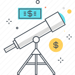 finance, forecast, money, space, stars, telescope, universe icon