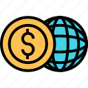 business, cash, currency, finance, global, money, online icon
