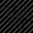 arrow, bow, dart, focus, goal, target icon
