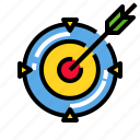arrow, center, goal, marketing, target icon