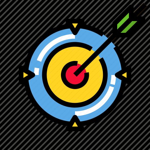 arrow, center, goal, marketing, target icon