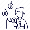 bukeicon, character, coin, dollar, finance, income, wallet