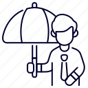bukeicon, employee, insurance, people, protection, umbrella