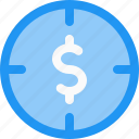 aim, circular, dollar, finance, goal, money, target icon