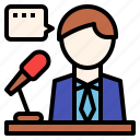 orator, presentation, speaker, speechmaker, talker icon