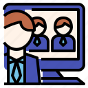 business, conference, meeting, vdo icon