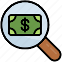 dollar, find, magnifier, money, paid search, view, business
