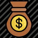 bag, coins, money, dollar, saving, bank, cash