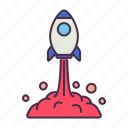 business, company, fly, launch, process, rocket, start up icon