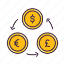 coin, currency, dollar, euro, exchange, money, pound icon