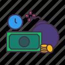 arrears, business, coins, count down, debit, loan, money icon