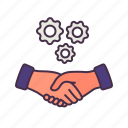 business, contract, deal, hands shake, managment, meeting, team icon