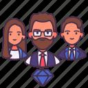 diamond, man, personnel, professional, staff, teamwork, woman icon