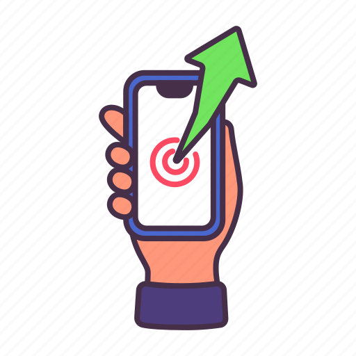 arrowfinance, business, graph, growth, sales, smartphone icon
