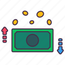 business, cash, coins, currency, down, money, up icon