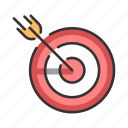aim, arrow, center, goal, marketing, success, target icon