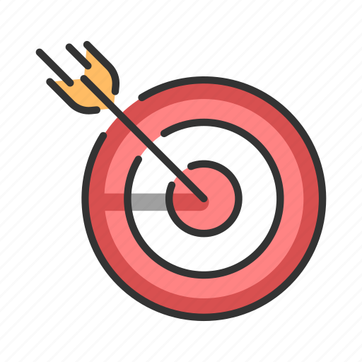 aim, arrow, center, goal, marketing, success, target icon
