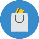 bank card, credit card, paper bag, shopping bag, tote bag icon