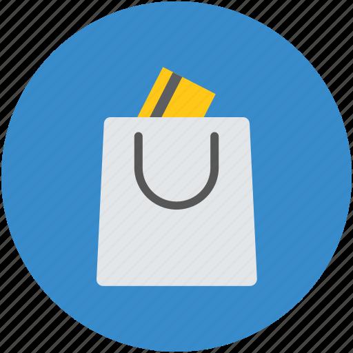 bank card, credit card, paper bag, shopping bag, tote bag icon