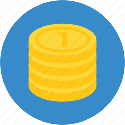 cash, coins, funding, money, stack of coins icon
