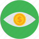 businessman, concept, dollar, eye, financier, investor, money icon