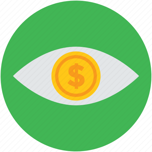 businessman, concept, dollar, eye, financier, investor, money icon