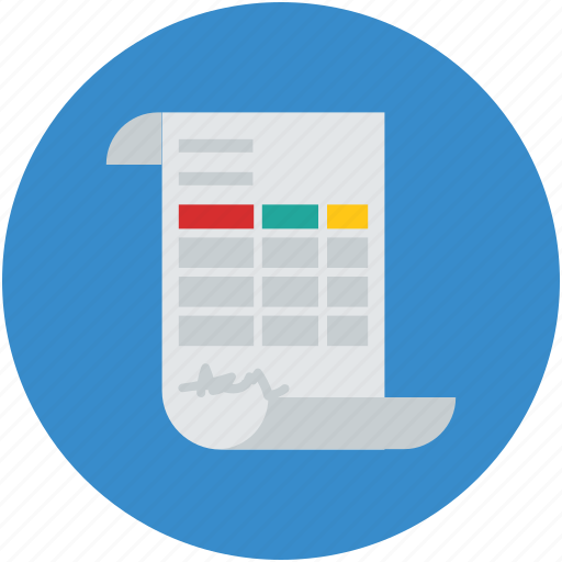 business, data, document, financial, official, scroll document, spreadsheet icon