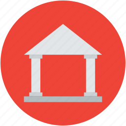 bank, building, column, concept, finance, front icon