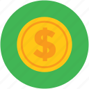 circular, coin, currency, dollar, finance, money icon