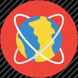 atom, atomic, earth, globe, nuclear, orbiting, symbol icon