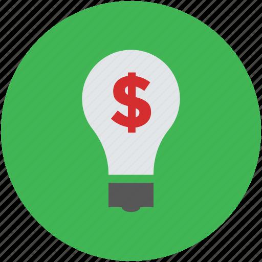 bulb, dollar, guardar, ideas, lightbulb, money making, save, savings, sign icon